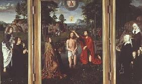 Jean de Trompes Triptych with the Baptism of Christ in the Central Panel, and Patrons