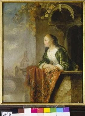 Dou, Gerard : Young woman on a balcony