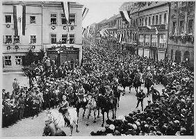 Parade of the first mounted SA divisions on Germany Day in Bayreuth, 1923, from 'Deutsche Gedenkhall