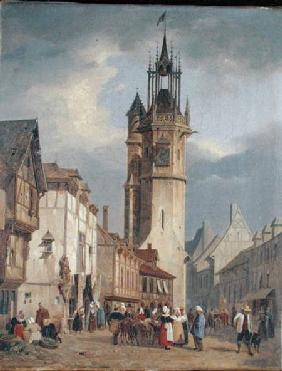 French Town Scene with a Bell Tower
