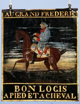 Signpost with Frederick the Great on Horseback for the Inn Le Cadiot, late 18th century (painted met