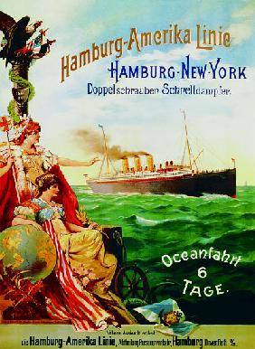 Poster advertising the Hamburg American Line
