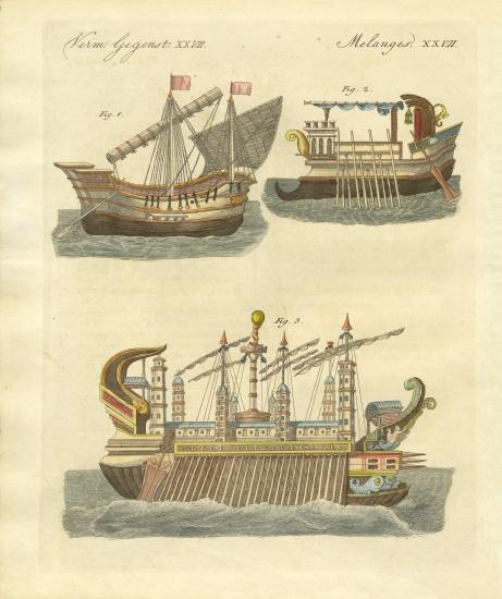 Ancient ships - German School, (19th century) as art print