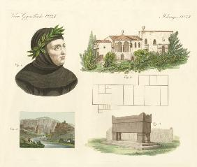 Petrarca, His flat in Arqua, His tomb together with a view of Vaucluse