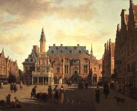 The Market Place with the Raadhuis, Haarlem