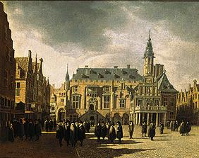The market place and the city hall of Haarlem.