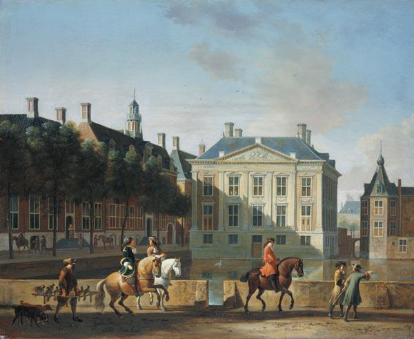 The Mauritshuis from the Langevijverburg, the Hague, with hawking party in the foreground