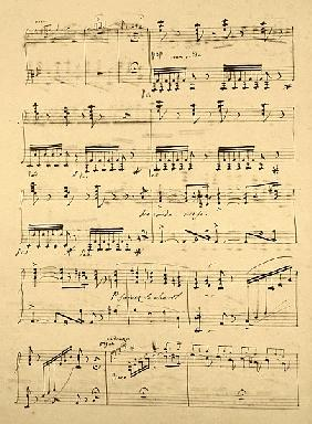 Manuscript page from the score of ''Les Huguenots''