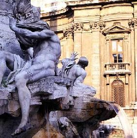 Symbolic figure of the River Nile, from the Fontana dei Quattro Fiumi (Fountain of the Four Rivers)