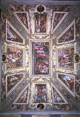 The ceiling of the Sala di Cosimo Il Vecchio showing Cosimo de' Medici (1389-1464) returning from ex