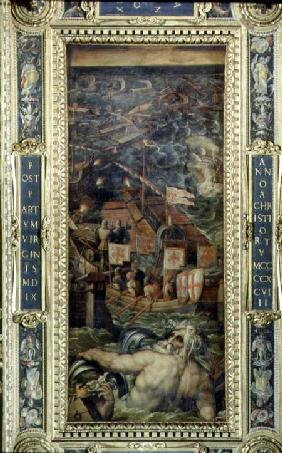 A naval battle between Florence and Pisa from the ceiling of the Salone dei Cinquecento