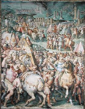 The Siege of Livorno by Maximilian I (1459-1519) from the Salone dei Cinquecento