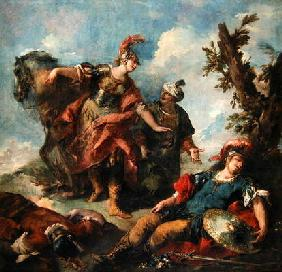 Herminia and Vaprinus Happen upon the Wounded Tancredi after his Duel with Argante, c.1750-55 (oil o