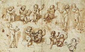 Studies of Putti (pen, ink, wash and chalk) - Detail