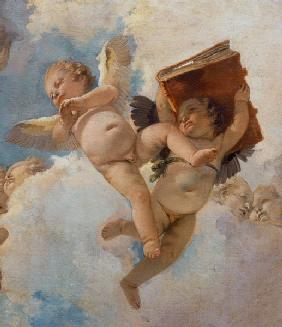 Putto with book, painted in 1744