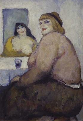 Woman with a Glass, by Giovanni Costetti, 1912, 20th Century, oil on cardboard