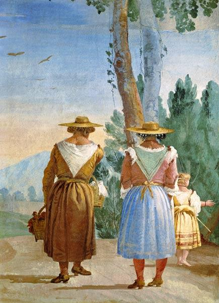 Two Peasant Women and a Child Seen from Behind from the 'Foresteria' ( 1757
