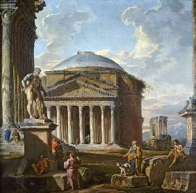 View of the Pantheon, the Farnese Hercules and other Roman Ruins