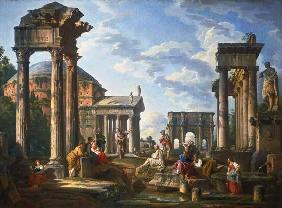 Pannini, Giovanni Paolo : Roman Ruins with a Prophet