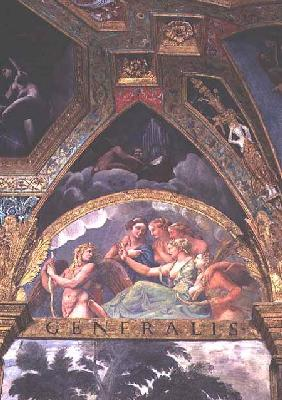 Cupid with Venus and Mercury whom she is sending to capture Psyche, lunette from the Sala di Amore e