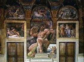 Olympia seduced by Jupiter, Polyphemus guarding Acis and Galatea, Pasiphae entering the cow construc