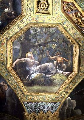 Psyche sleeping in the valley of Cupid, ceiling caisson from the Sala di Amore e Psiche