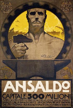 Worker with hammer and anvil, poster of Ansaldo of Genoa for the subscription of new shares