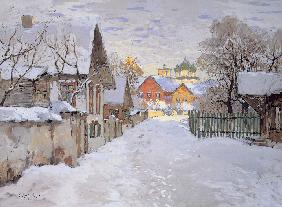Winter Evening. View of Pskov