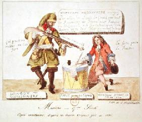 Missions of the 17th Century: The Missionary Dragoon forcing a Huguenot to Sign his Conversion to Ca