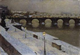 The Augustusbr�cke to Dresden in the snow
