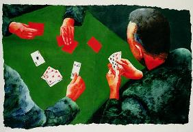 Card Game, 1988 (w/c and acrylic on paper)