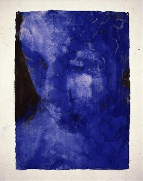 Small Blue Head, 1998 (w/c on indian handmade paper)