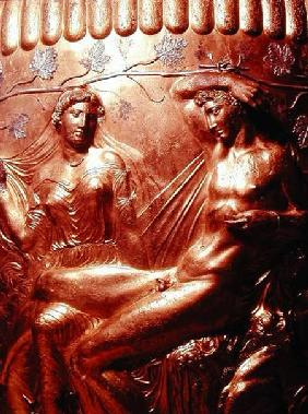 Detail of the Dherveni Krater depicting Dionysius and Ariadne