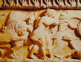 Detail of the north frieze of the Siphnian Treasury depicting gods fighting giants