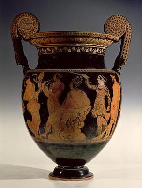 Karneia, or Harvest Festival, red-figure volute krater, late 5th century BC - early 4th century BC (
