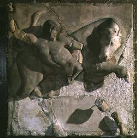 Hercules Fighting the Cretan Bull, one of a series of twelve metopes depicting the Labours of Hercul