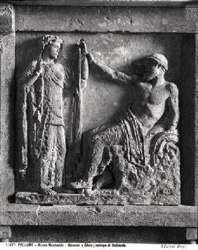 Juno and Jupiter, metope from the Temple of Selinunte, Sicily