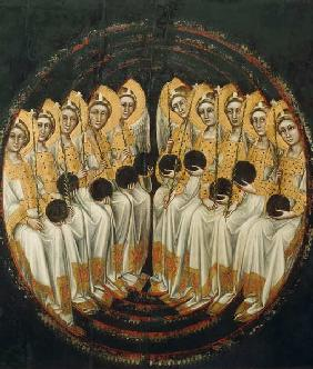 Seated Angels with Orbs in their Hands