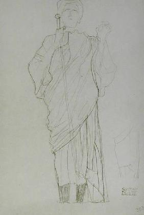 Standing Woman Holding Sword, cil on brown