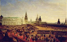 Military parade during the Coronation of Alexander II in the Moscow Kremlin on the 18th February 185