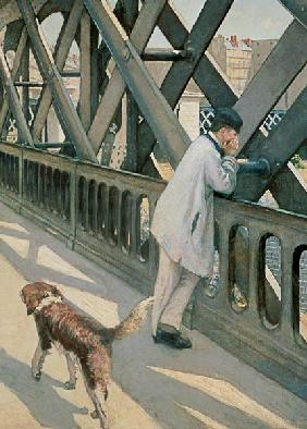 Le Pont de L'Europe: detail of a resting man and a dog
