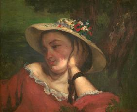 Woman with Flowers on Her Hat