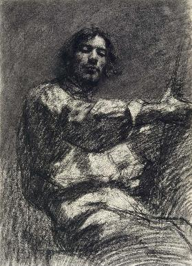 Young Man Sitting, Study. (Self-Portrait At the Easel)