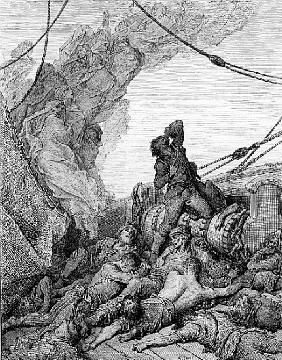 The Mariner, surrounded the dead sailors, suffers anguish of spirit, scene from ''The Rime of the An