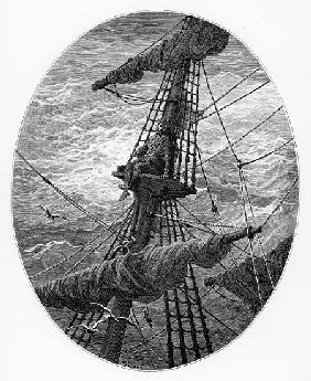 The Mariner up the mast during a storm, scene from ''The Rime of the Ancient Mariner'' S.T. Coleridg