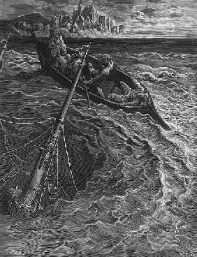 The ship sinks but the Mariner is rescued the Pilot and Hermit, scene from ''The Rime of the Ancient