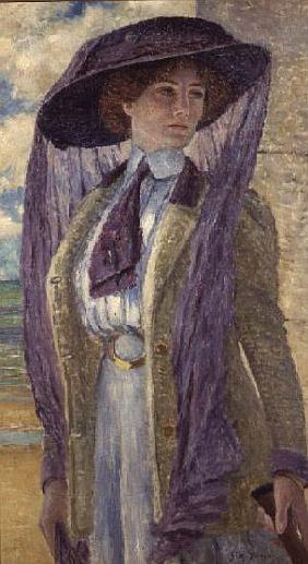 Woman with a Purple Hat