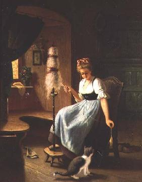 Girl at a Spinning Wheel