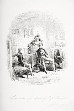 I make the acquaintance of Miss. Mowcher, illustration from ''David Copperfield'' Charles Dickens (1