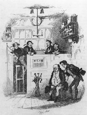 Mr. Pickwick and Sam in the attorney''s office, illustration from ''The Pickwick Papers'' Charles Di